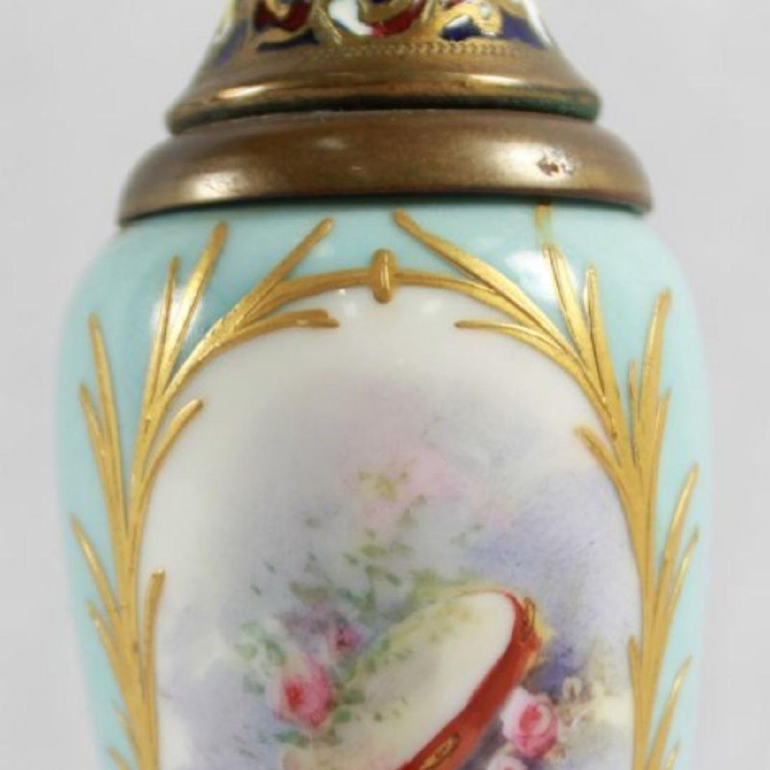 19TH C. CHAMPLEVE CABINET VASE WITH BASE - 6