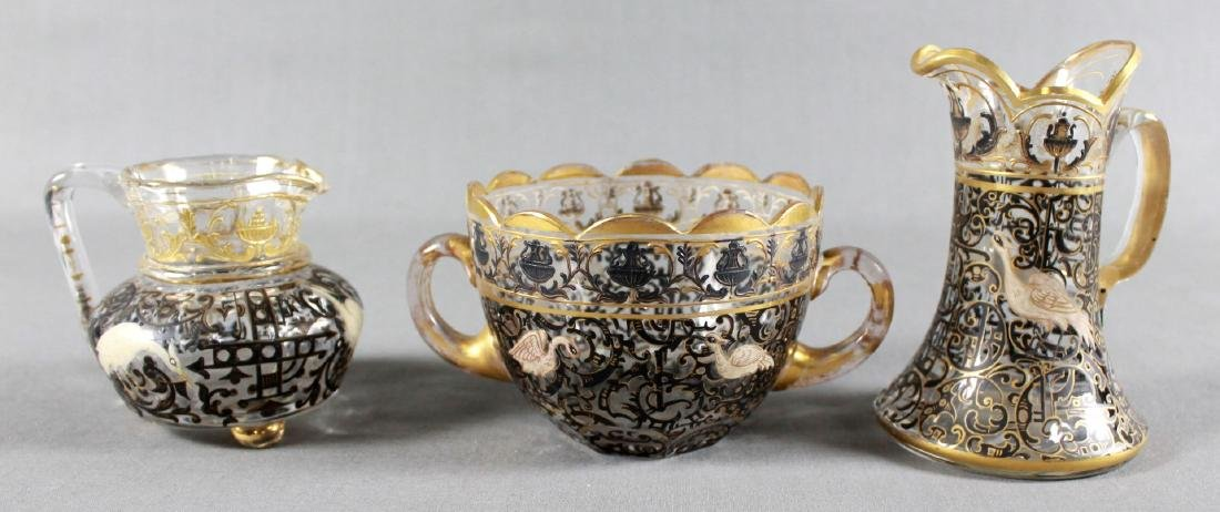 THREE DECORATED LOBMEYR TABLEWARE