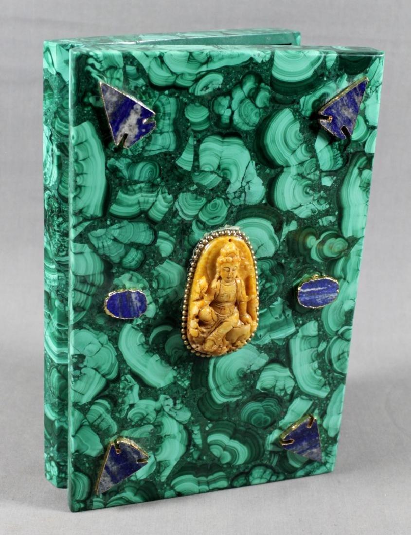 RUSSIAN MALACHITE MOUNTED BOOK SHAPED BOX