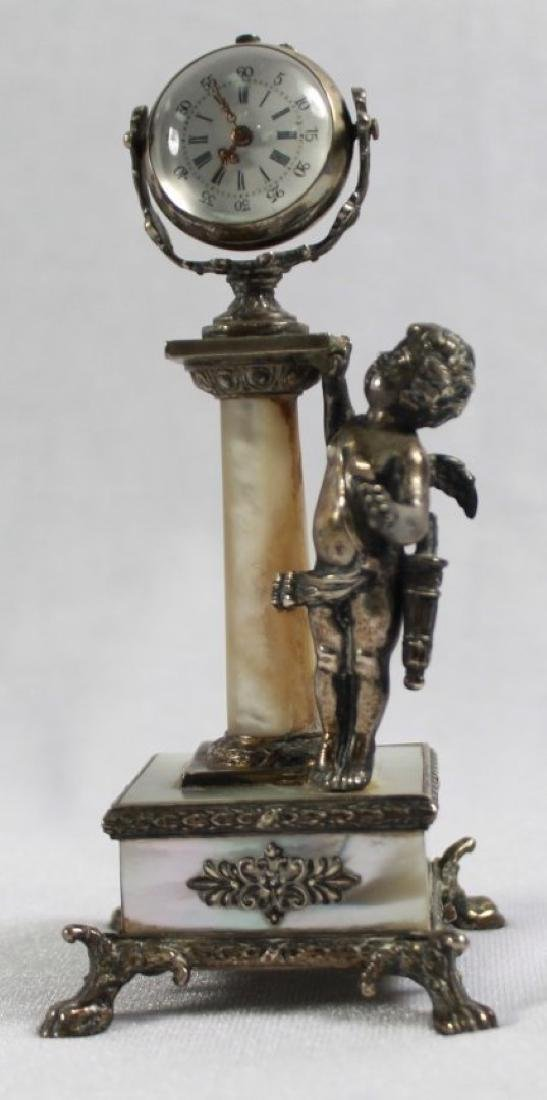 19TH C STERLING SILVER AND MOTHER OF PEARL FIGURAL