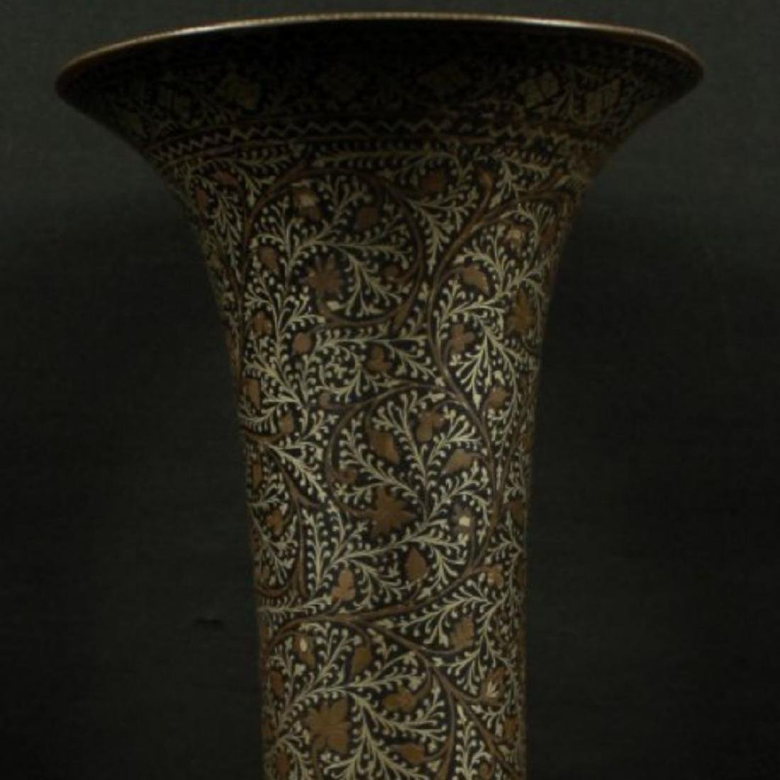 INLAID METAL VASE