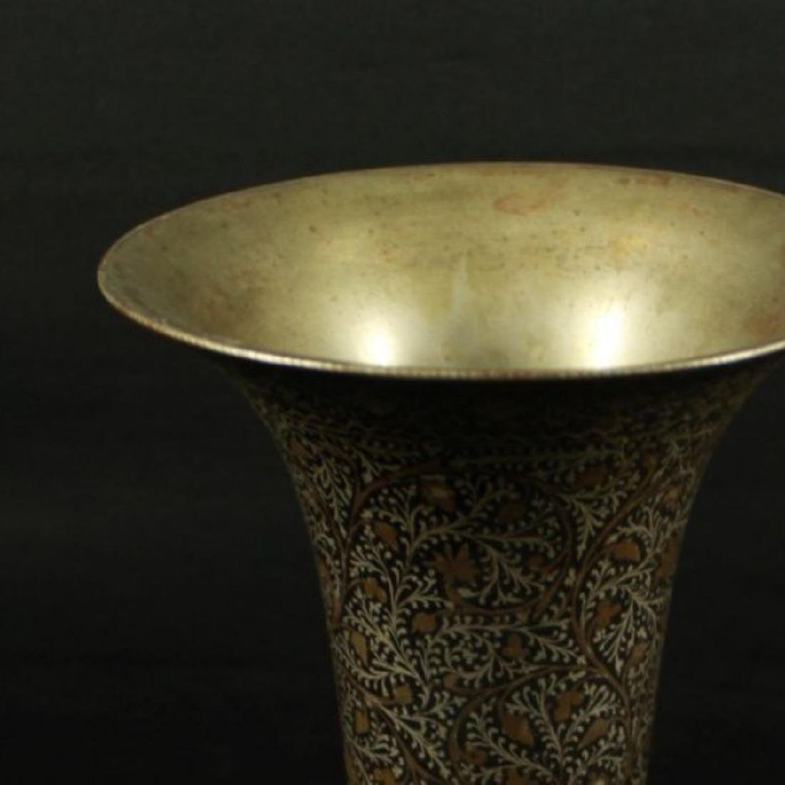 INLAID METAL VASE - 3