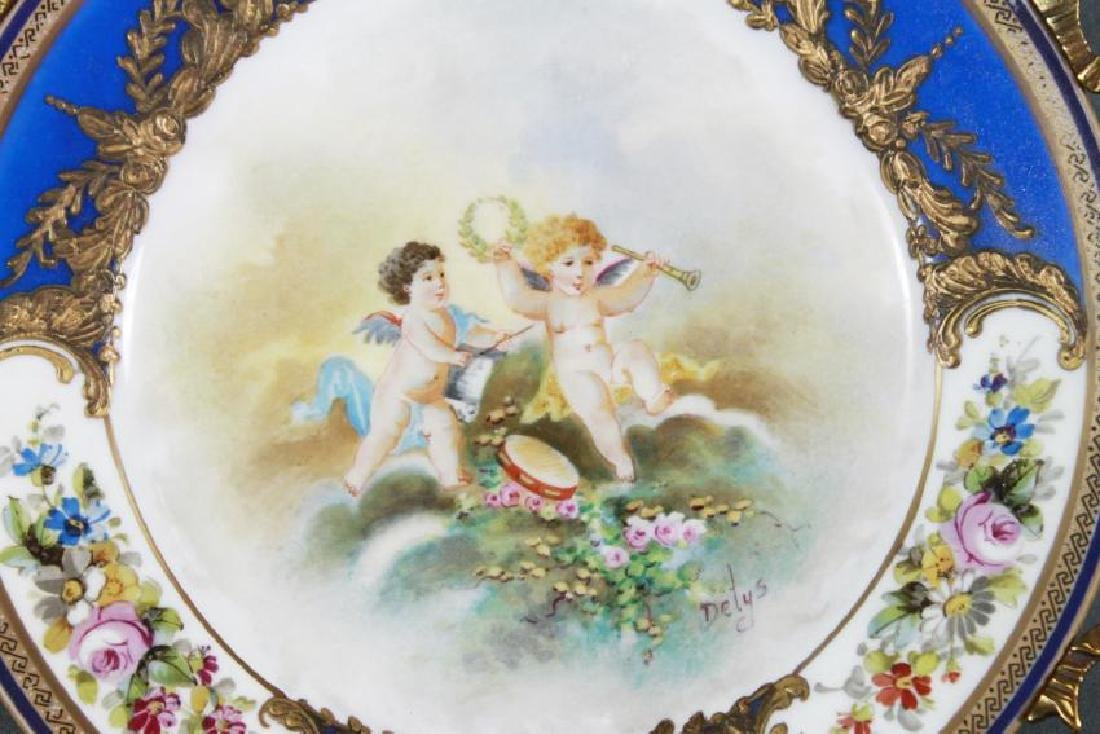 LIMOGES PORCELAIN AND BRONZE FOOTED TRAY - 2
