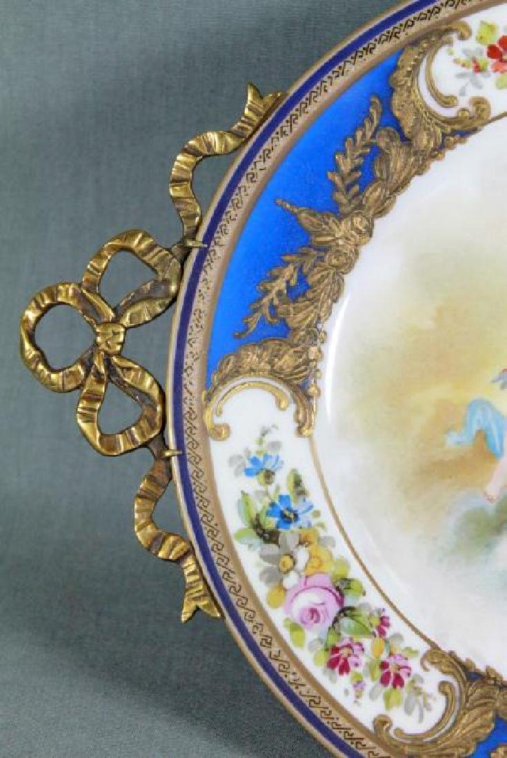 LIMOGES PORCELAIN AND BRONZE FOOTED TRAY - 4