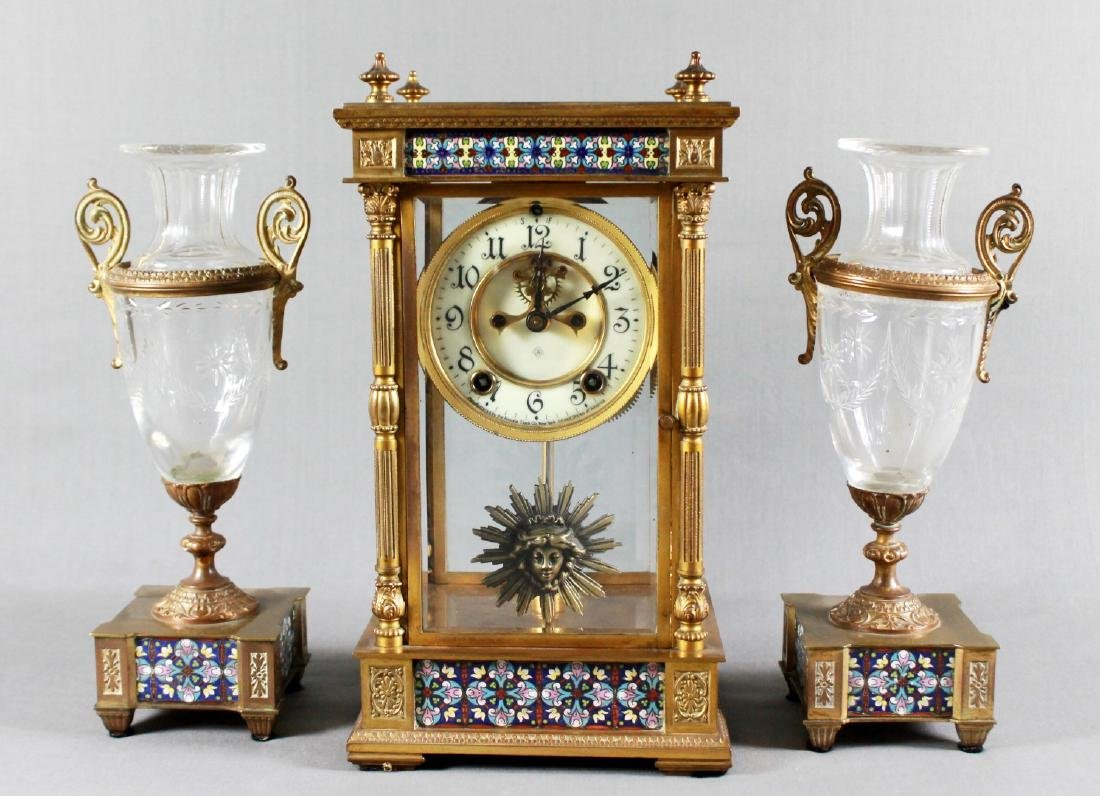 3 PC. CHAMPLEVE CLOCK GARNITURE SET
