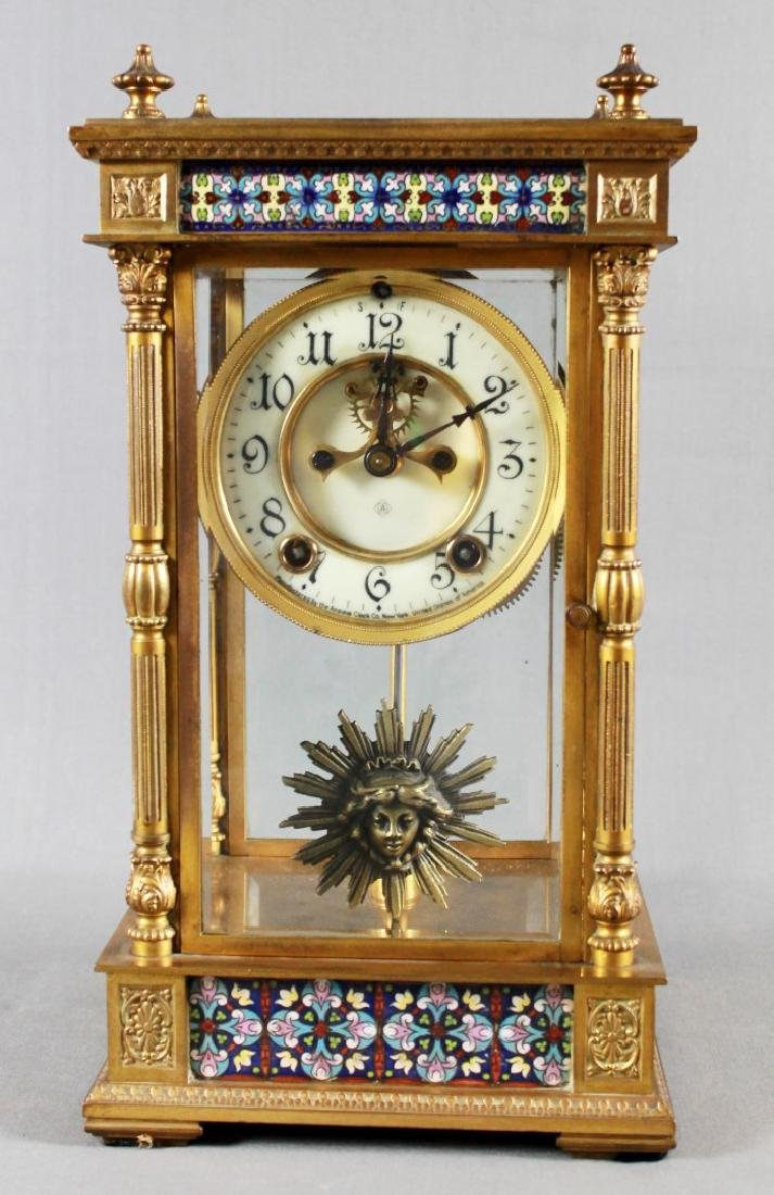 3 PC. CHAMPLEVE CLOCK GARNITURE SET - 2