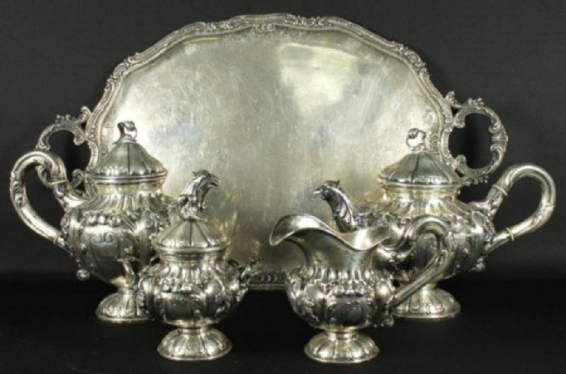 ANTIQUE GERMAN 800 SILVER TEA SET 5 PC.