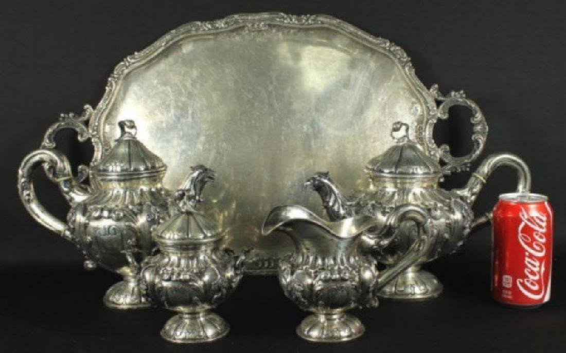 ANTIQUE GERMAN 800 SILVER TEA SET 5 PC. - 2