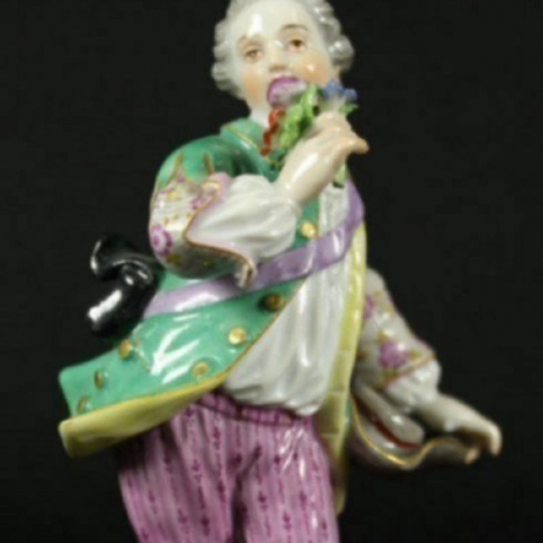 MEISSEN FIGURE OF BOY WITH FLOWERS