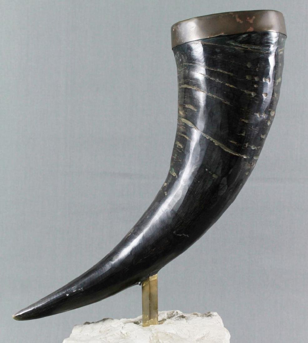 BRONZE HORN ON STONE BASE - 2