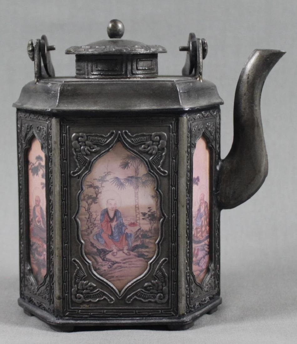 CHINESE PEWTER TEA KETTLE - 4