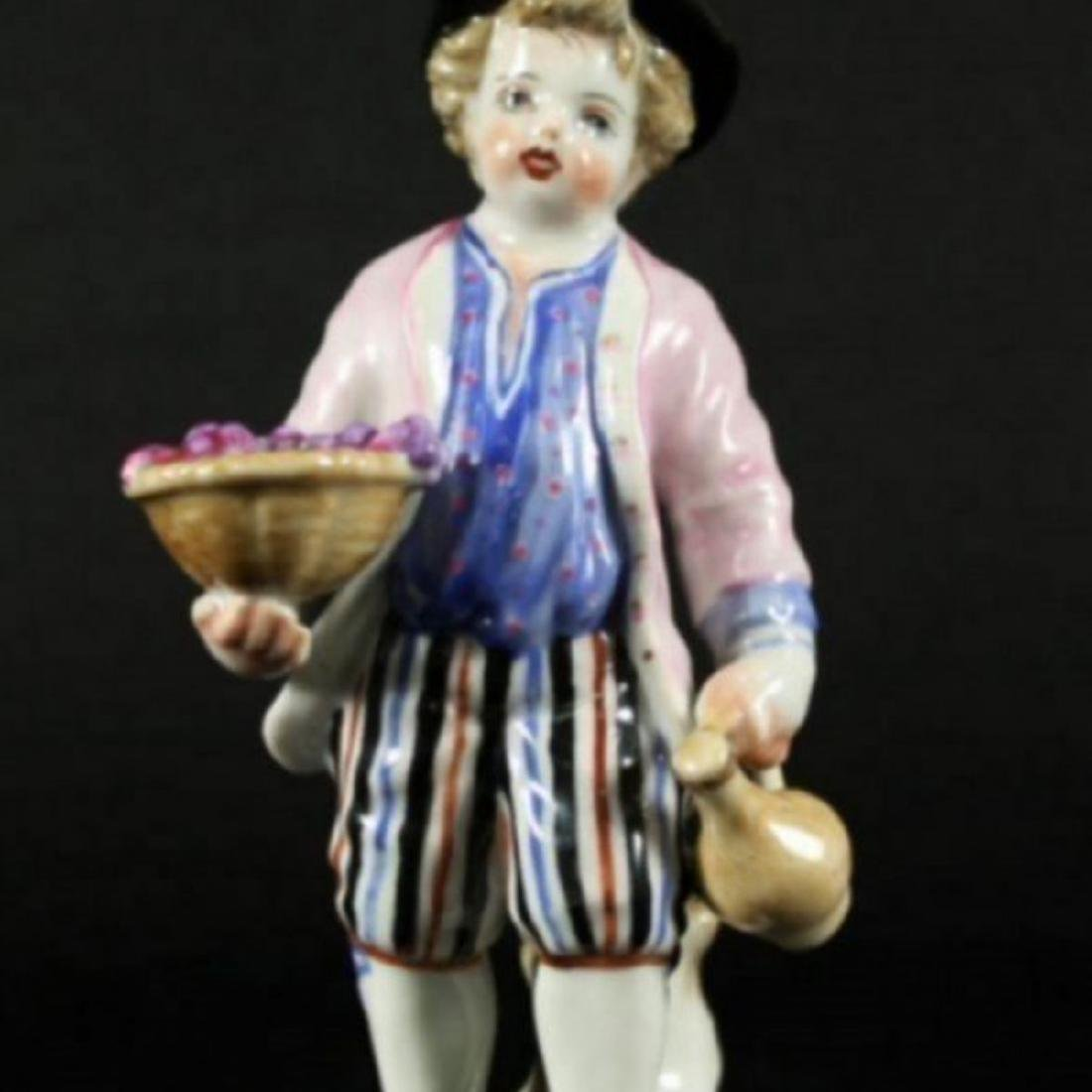 MEISSEN FIGURE OF BOY WITH GRAPES