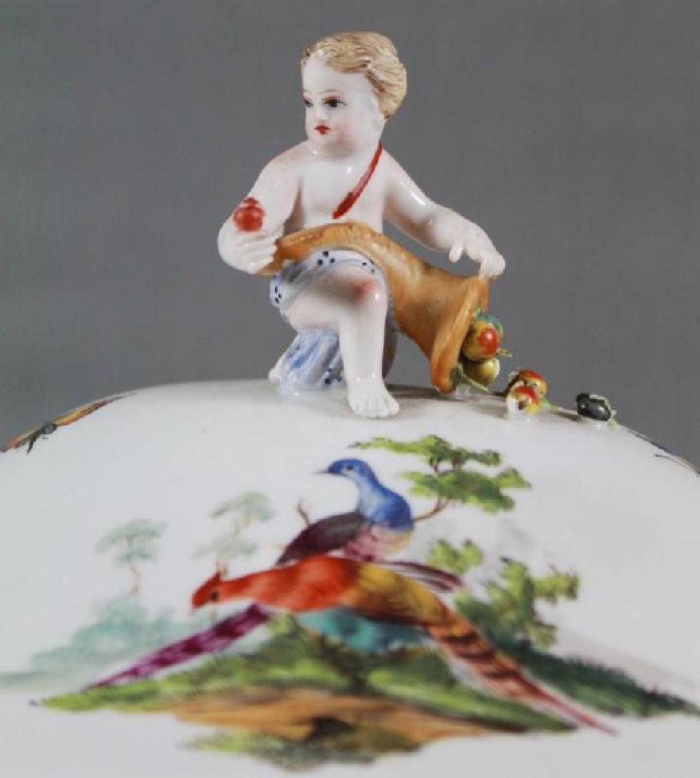 "ANTIQUE 13 1/2"" MEISSEN FIGURAL COVERED BOWL - 2"