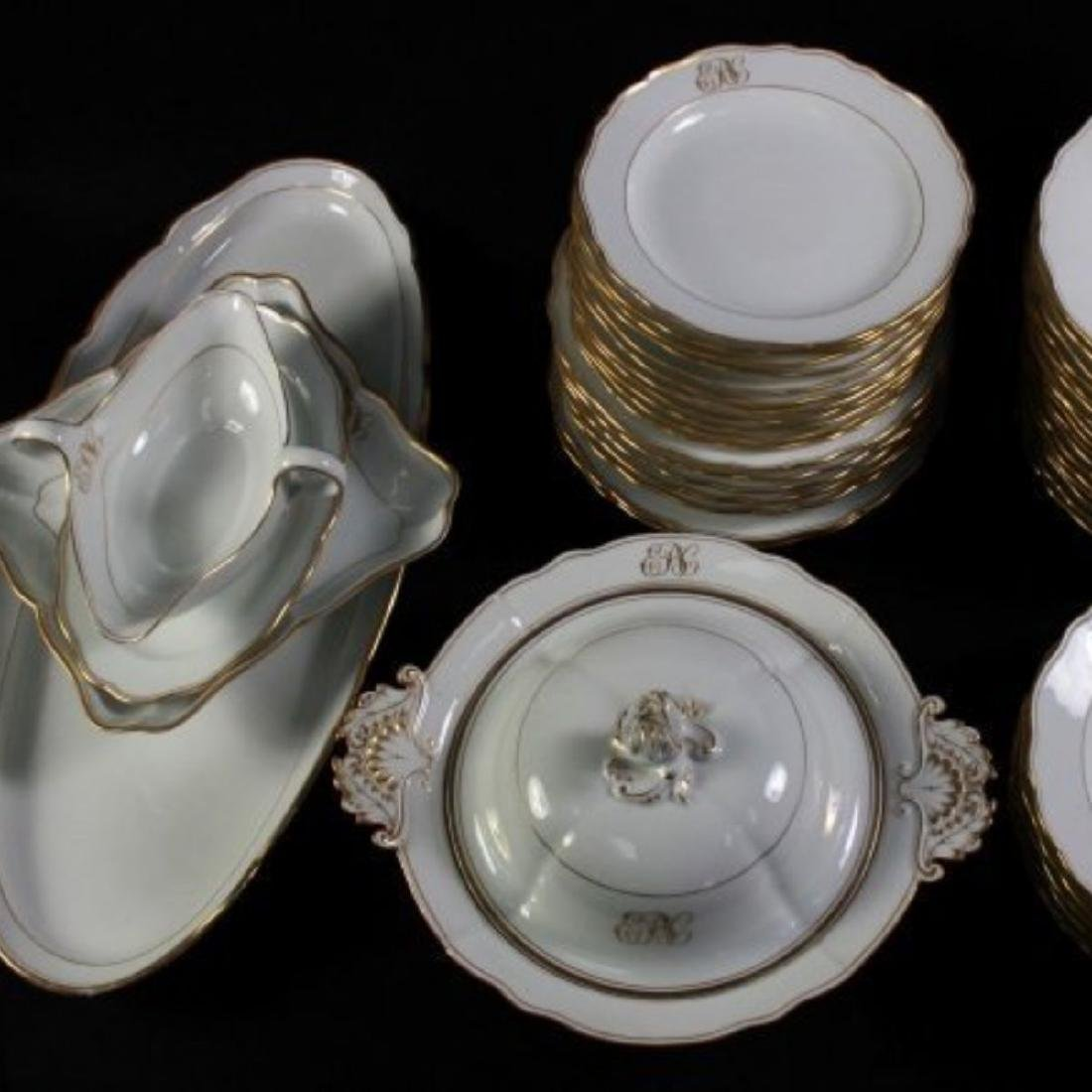 19TH C MEISSEN PART DINER SERVICE WITH THE UNDER GLAZED