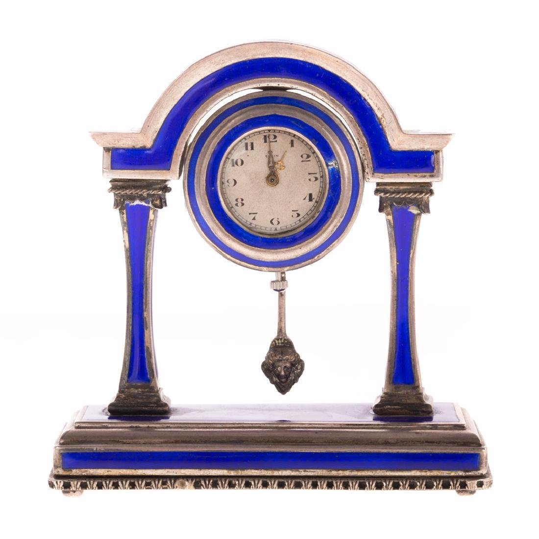 A French Blue Enamel Pedestal Clock