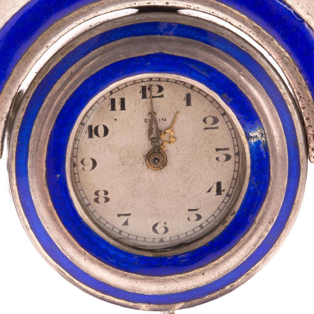 A French Blue Enamel Pedestal Clock - 2