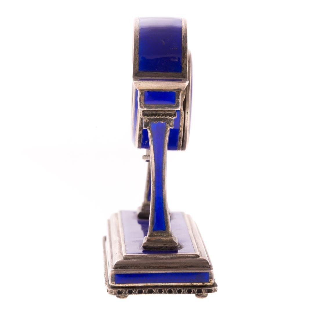 A French Blue Enamel Pedestal Clock - 3