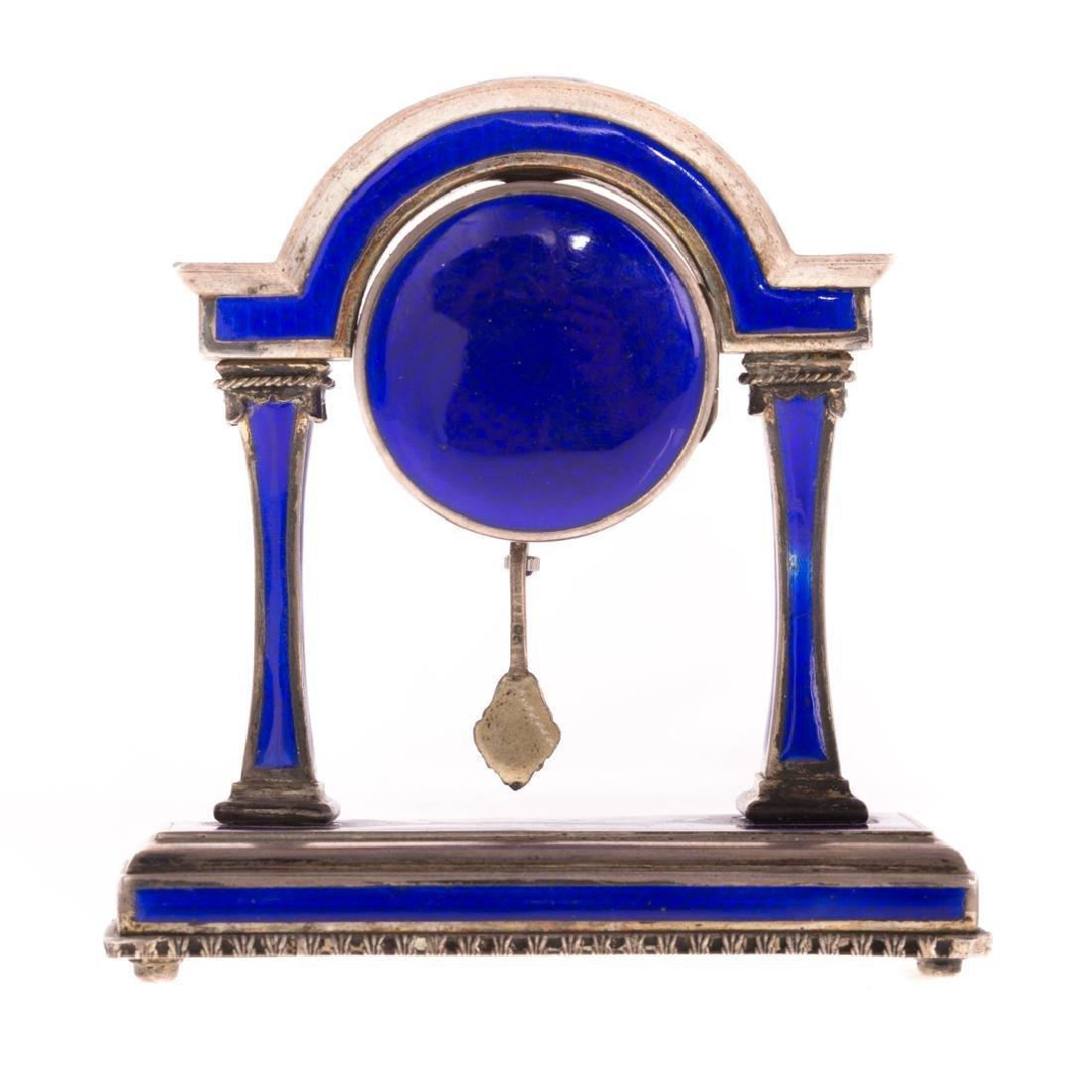 A French Blue Enamel Pedestal Clock - 4