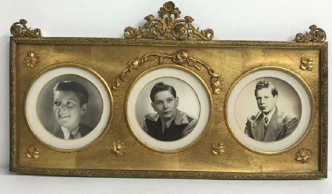 ANTIQUE GILT 3 PICTURE PHOTO FRAME