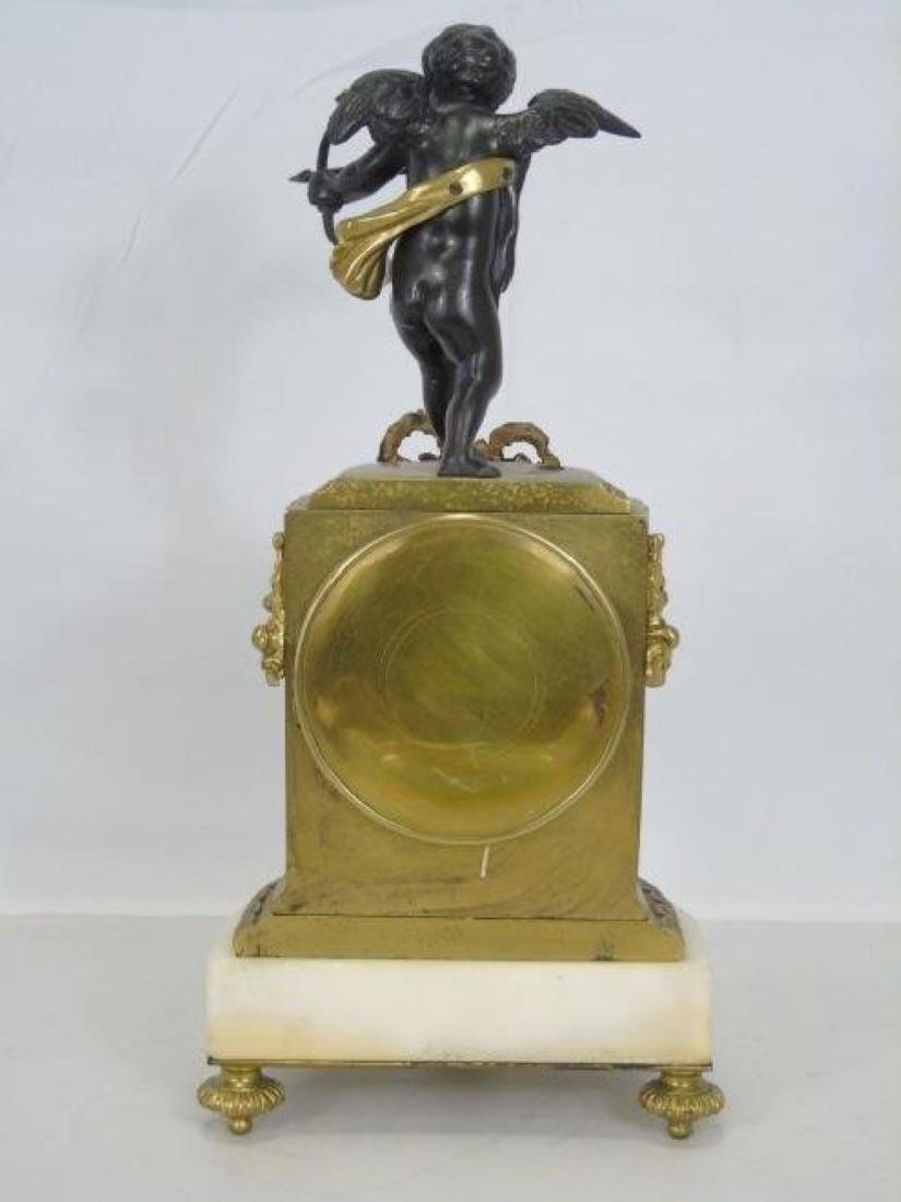 19th C. French Bronze & Marble Thieble Mantle Clock - 2
