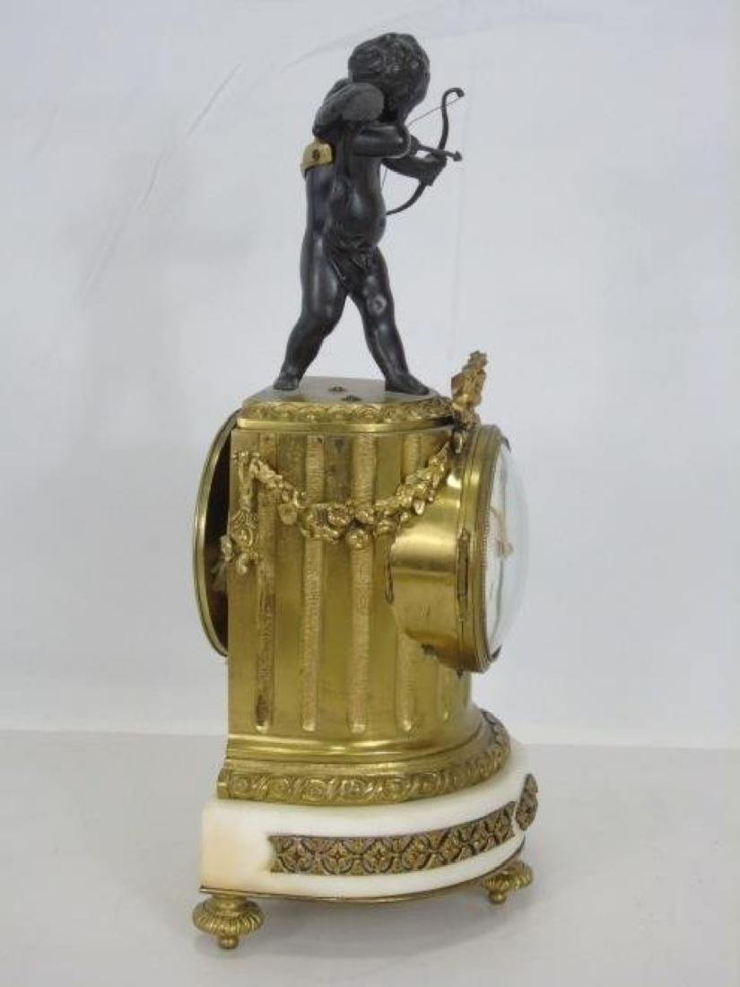 19th C. French Bronze & Marble Thieble Mantle Clock - 4