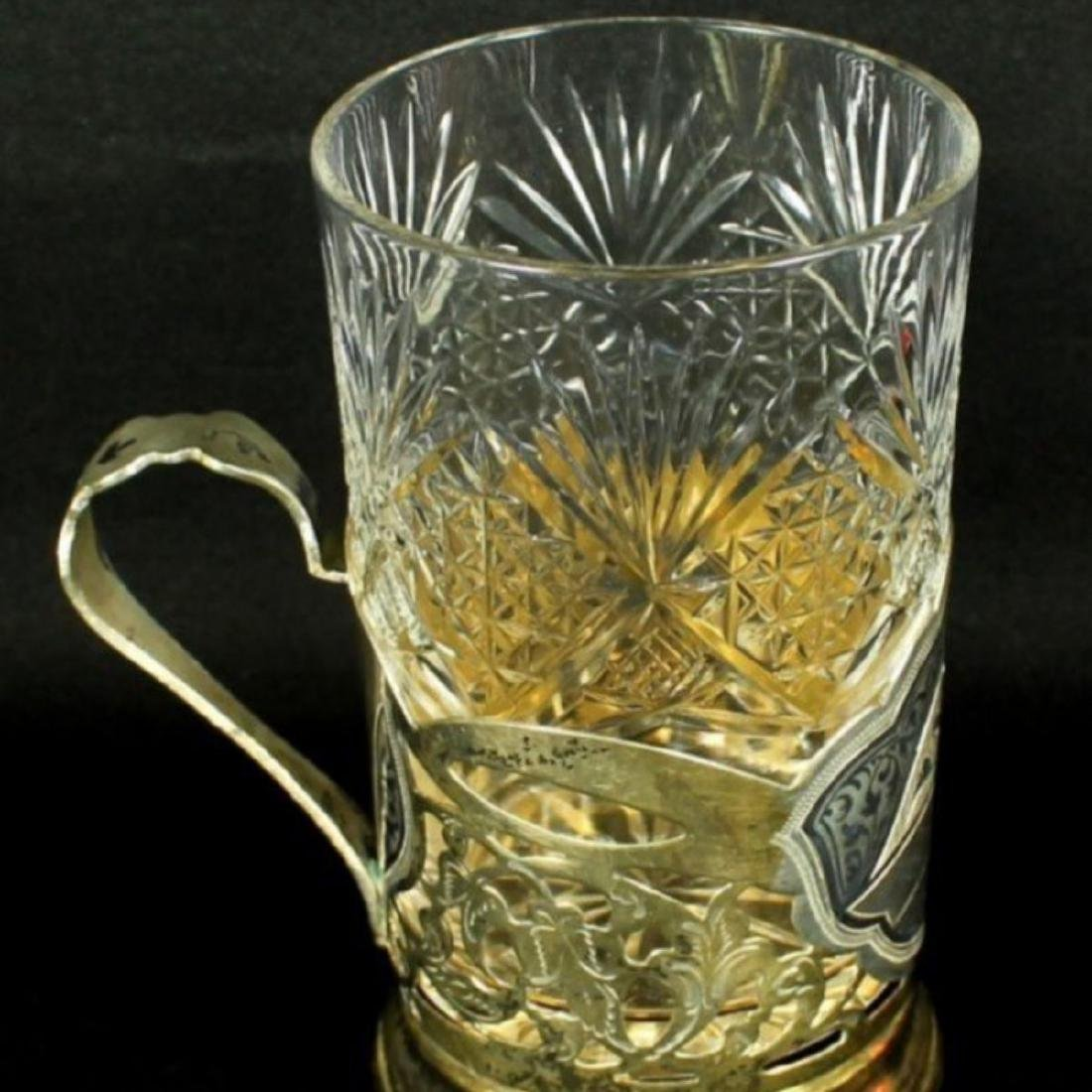 RUSSIAN NIELLOWORK SILVER & CRYSTAL DRINK 7PC. SET - 4