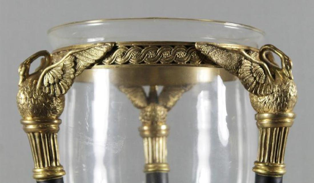 EMPIRE STYLE BRONZE AND GLASS CENTERPICE WITH MARBLE - 3