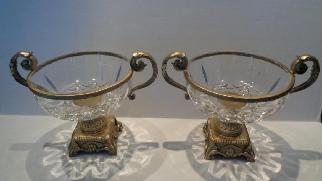 Pair Crystal Faceted Bronze Scroll-Leaf Handle Bowl