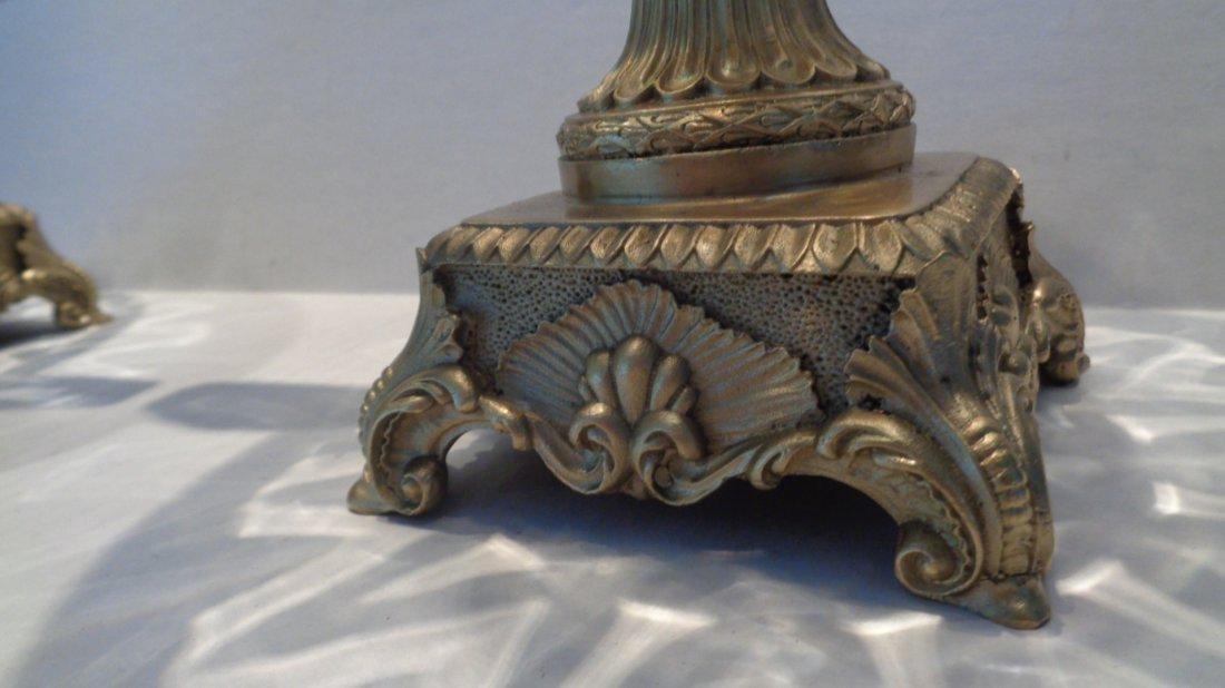 Pair Crystal Faceted Bronze Scroll-Leaf Handle Bowl - 2