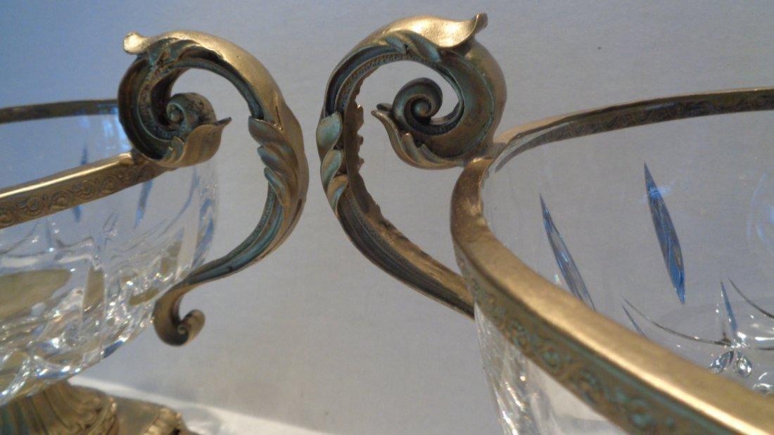 Pair Crystal Faceted Bronze Scroll-Leaf Handle Bowl - 3