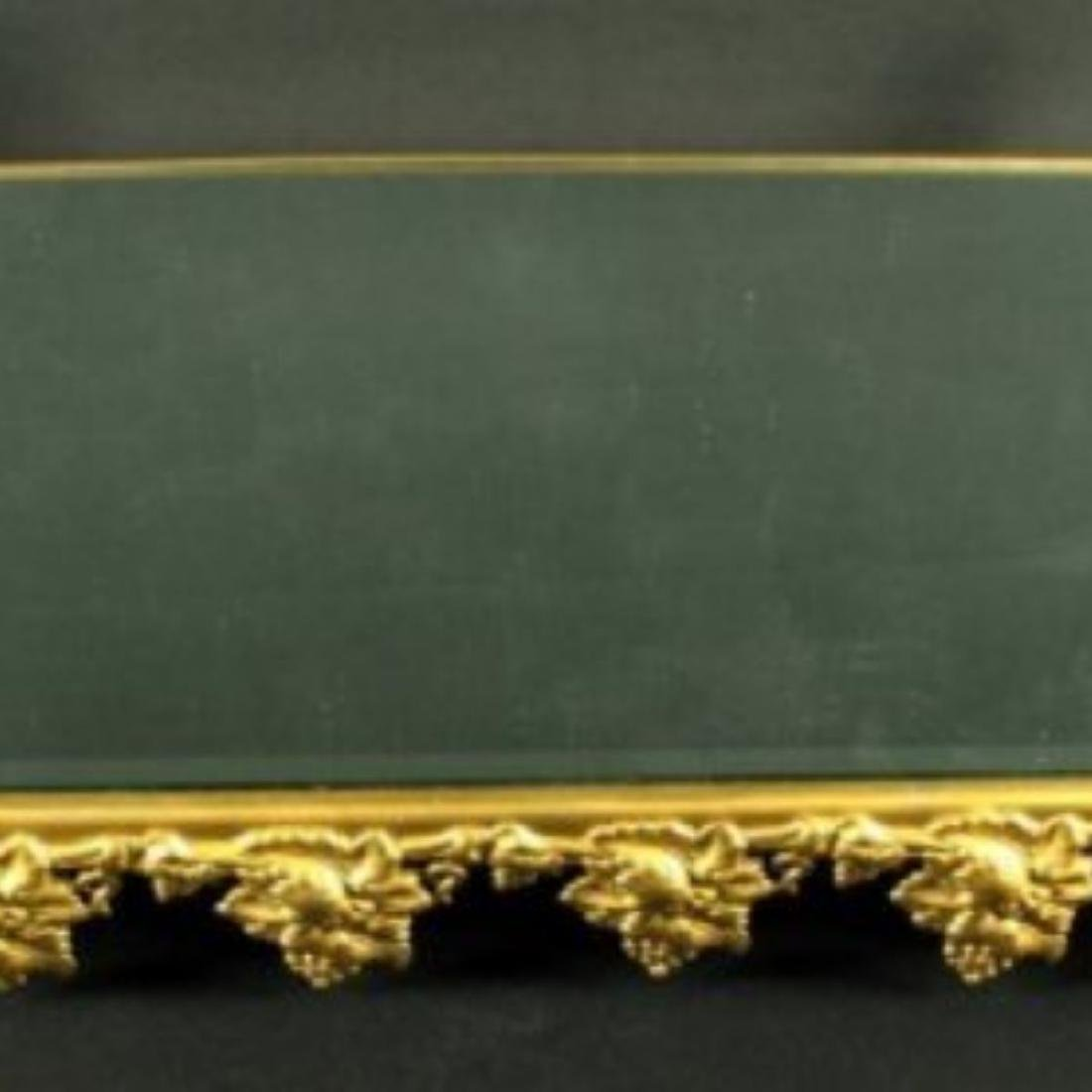 Gilt Bronze Frame Mirrored Vanity Tray - 2