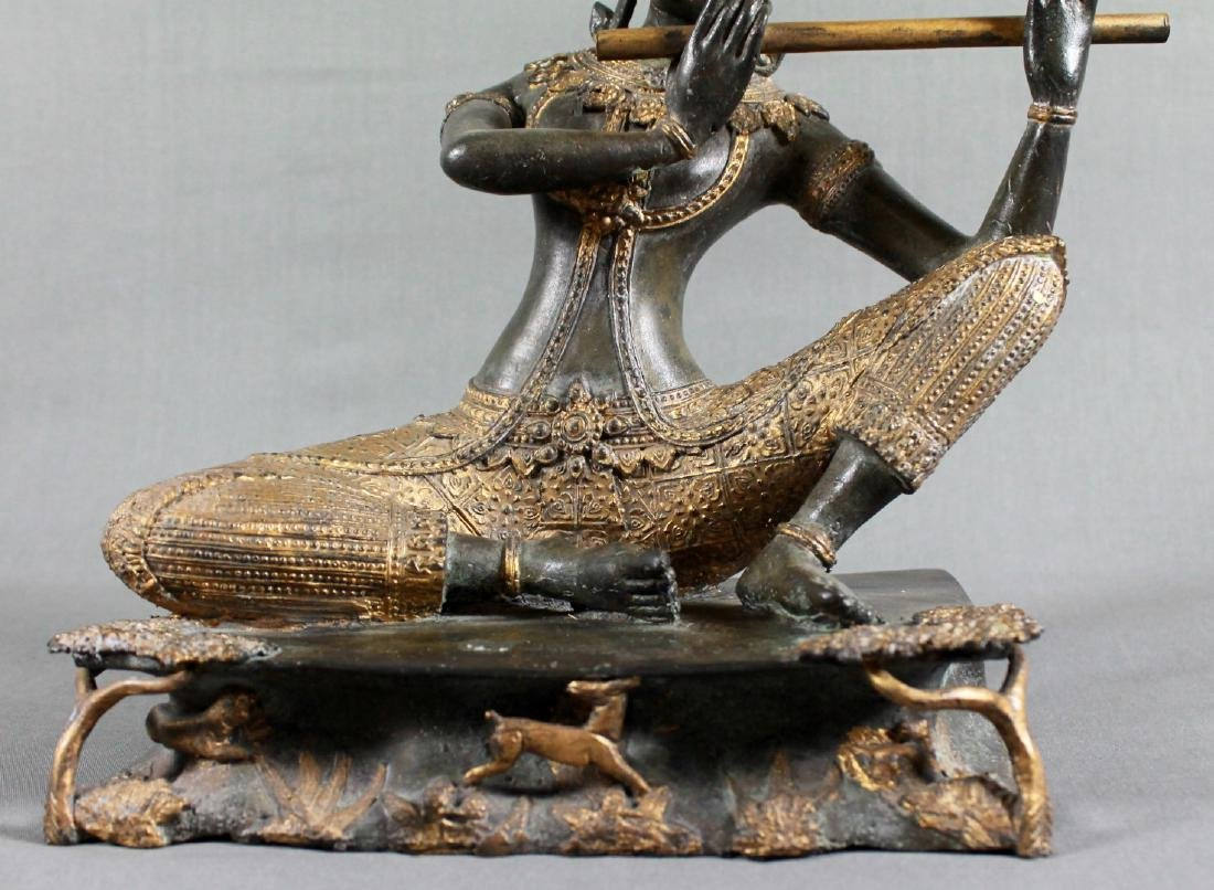 THAI GILT BRONZE OF A GODDESS PLAYING FLUTE - 3