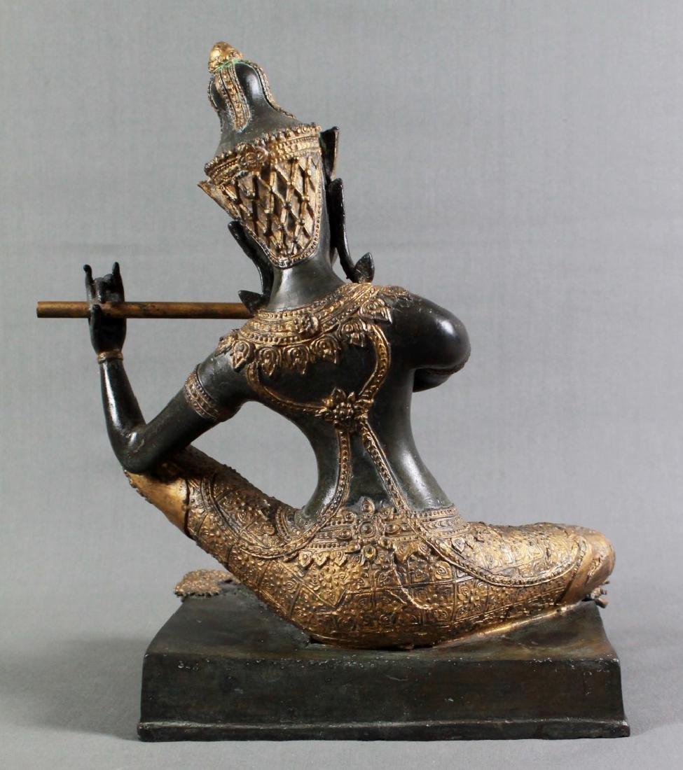 THAI GILT BRONZE OF A GODDESS PLAYING FLUTE - 4