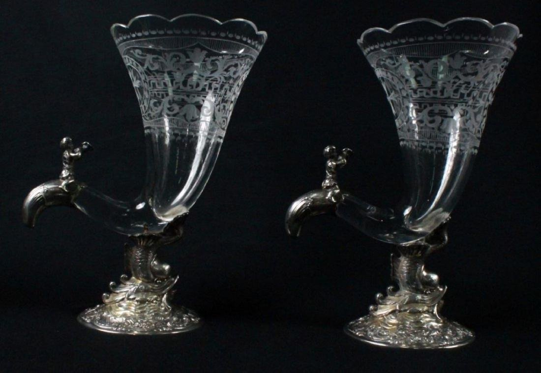 PAIR OF GERMAN 800 FINE AND CRYSTAL CORNUCOPIA VASES - 2