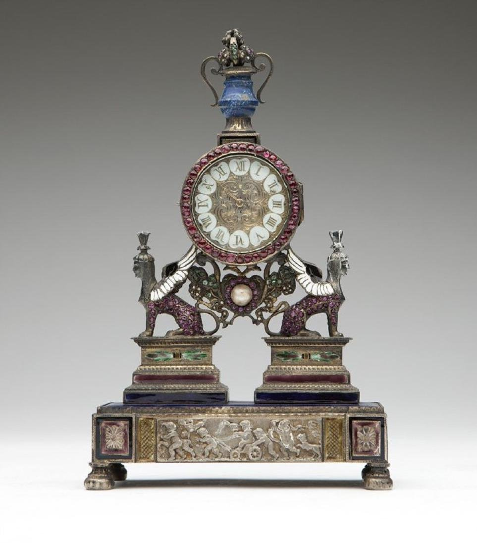 An Empire silver Vienna-style desk clock