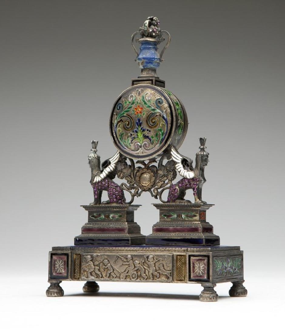 An Empire silver Vienna-style desk clock - 2