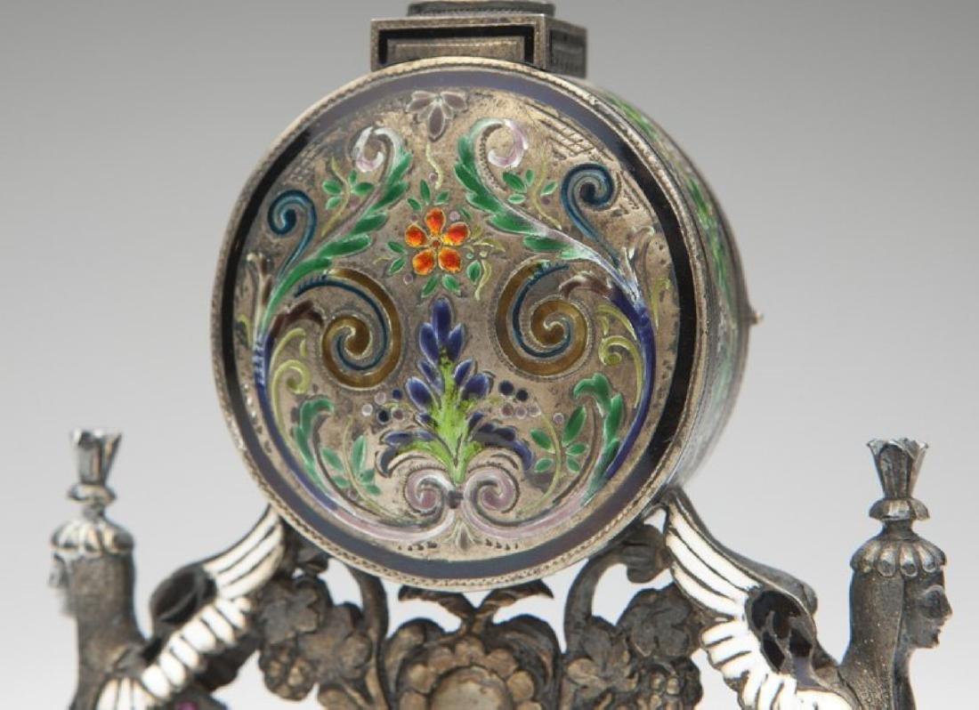 An Empire silver Vienna-style desk clock - 3