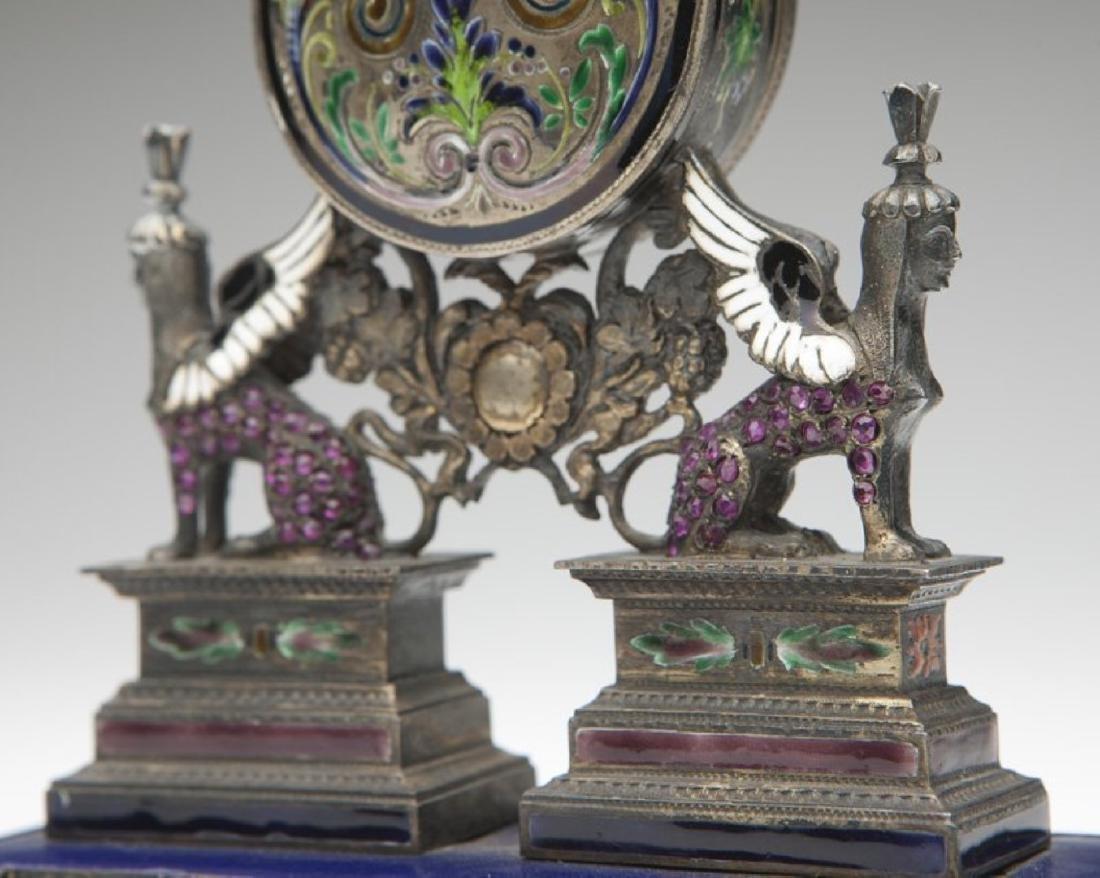 An Empire silver Vienna-style desk clock - 4