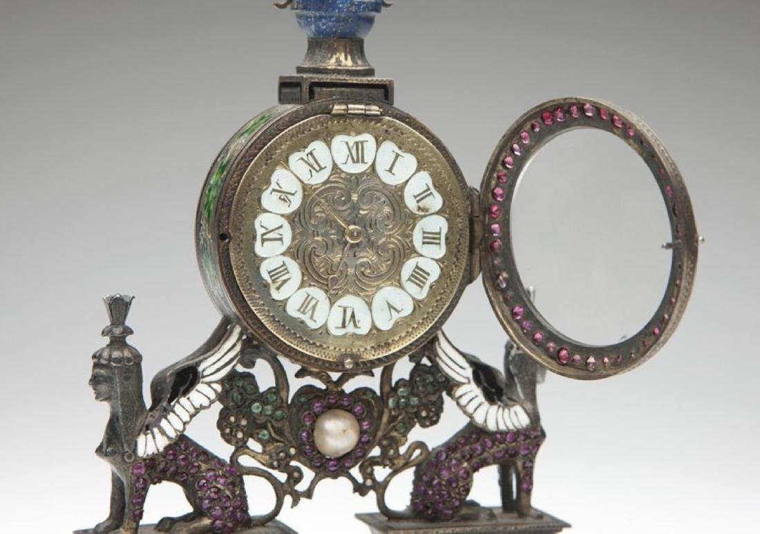 An Empire silver Vienna-style desk clock - 6