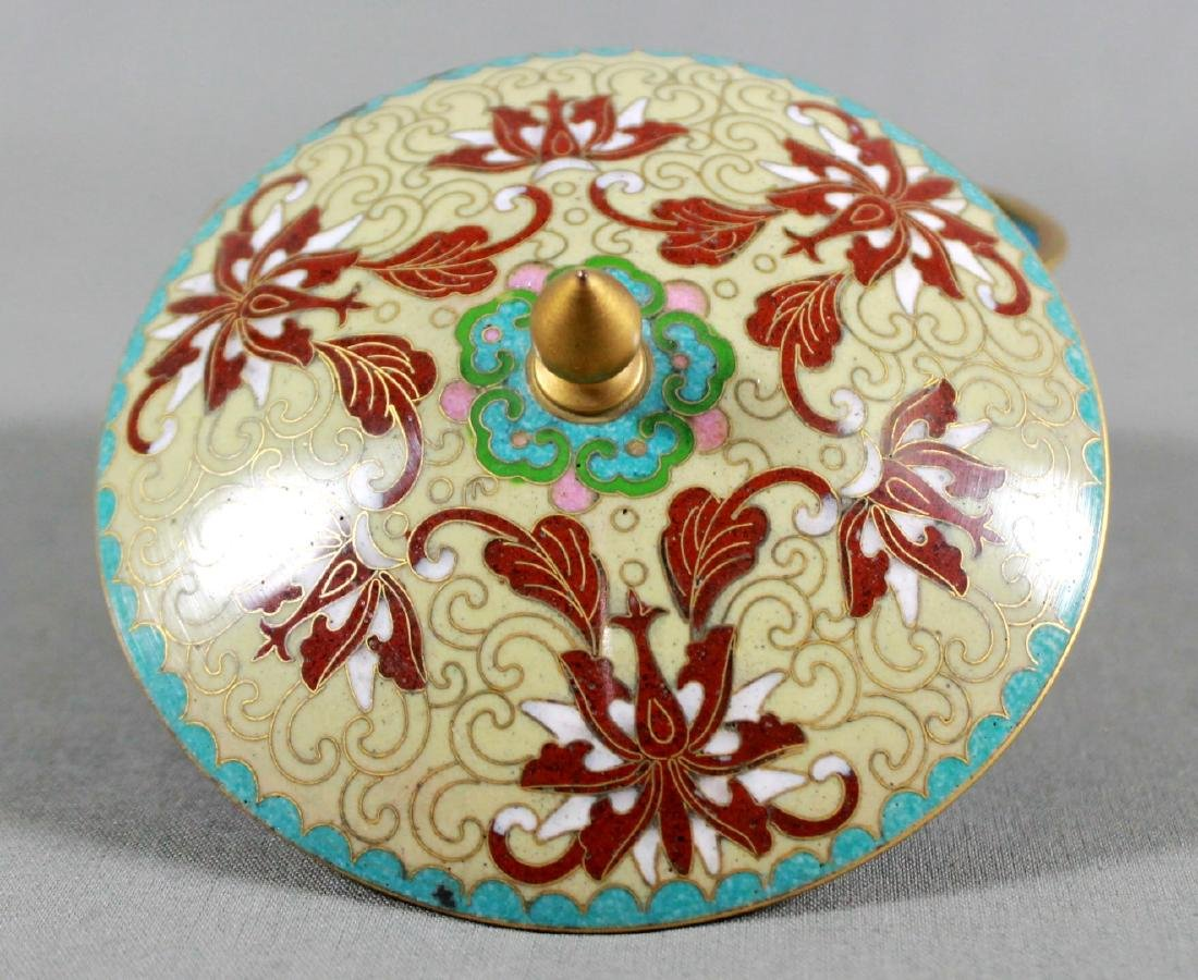 CLOISONNE BOWL WITH COVER ON WOODEN BASE - 2