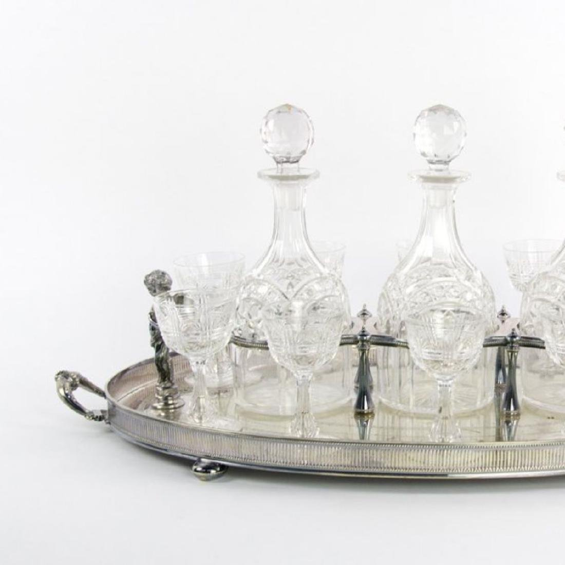 A LATE 19TH C. SILVER-PLATE AND CUT GLASS BAR SET - 2