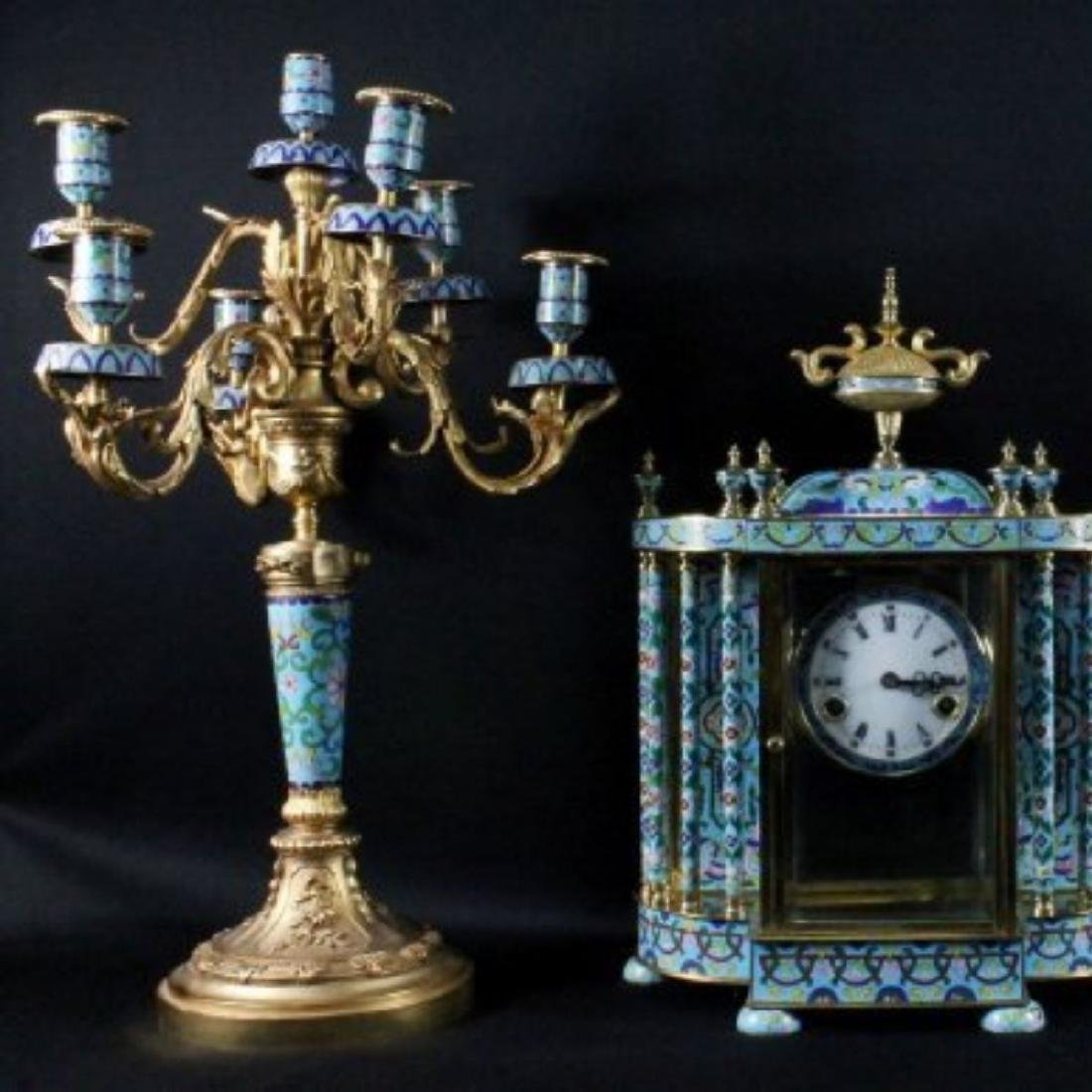 3 PC. CHINESE ENAMEL CLOCKSET
