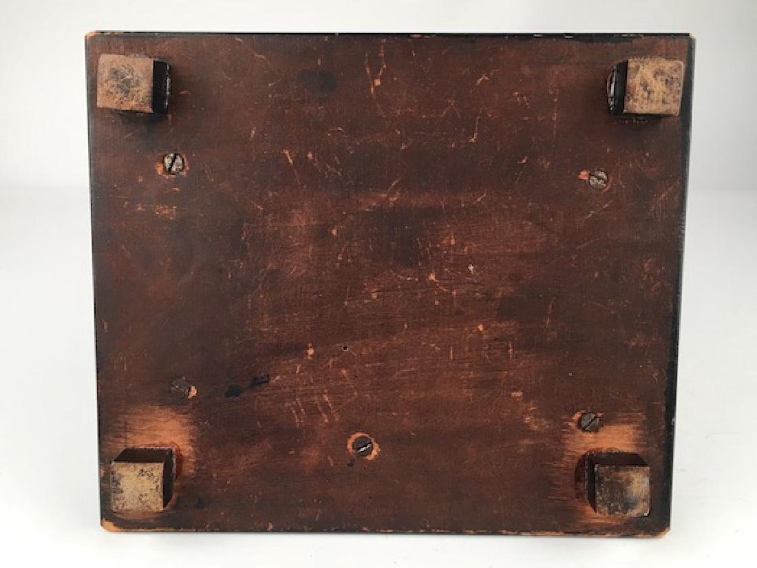 Antique casket box with sixteen porcelain painted - 9