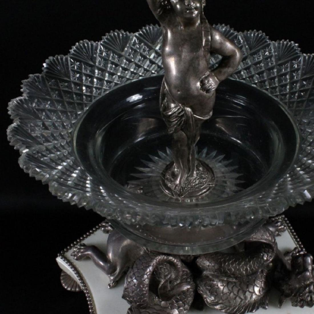 LOUIS XVI STYLE SILVERED BRONZE CRYSTAL 3 TIER EPERGNE - 6