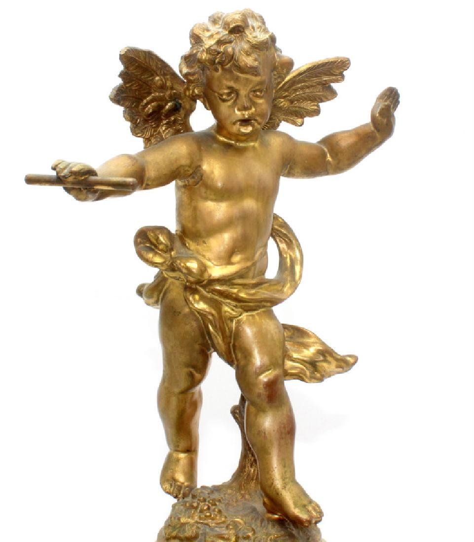 Antique French Metal & Onyx Miniature Cupid Clock - 2