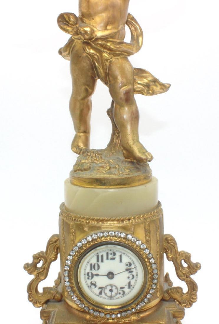 Antique French Metal & Onyx Miniature Cupid Clock - 3