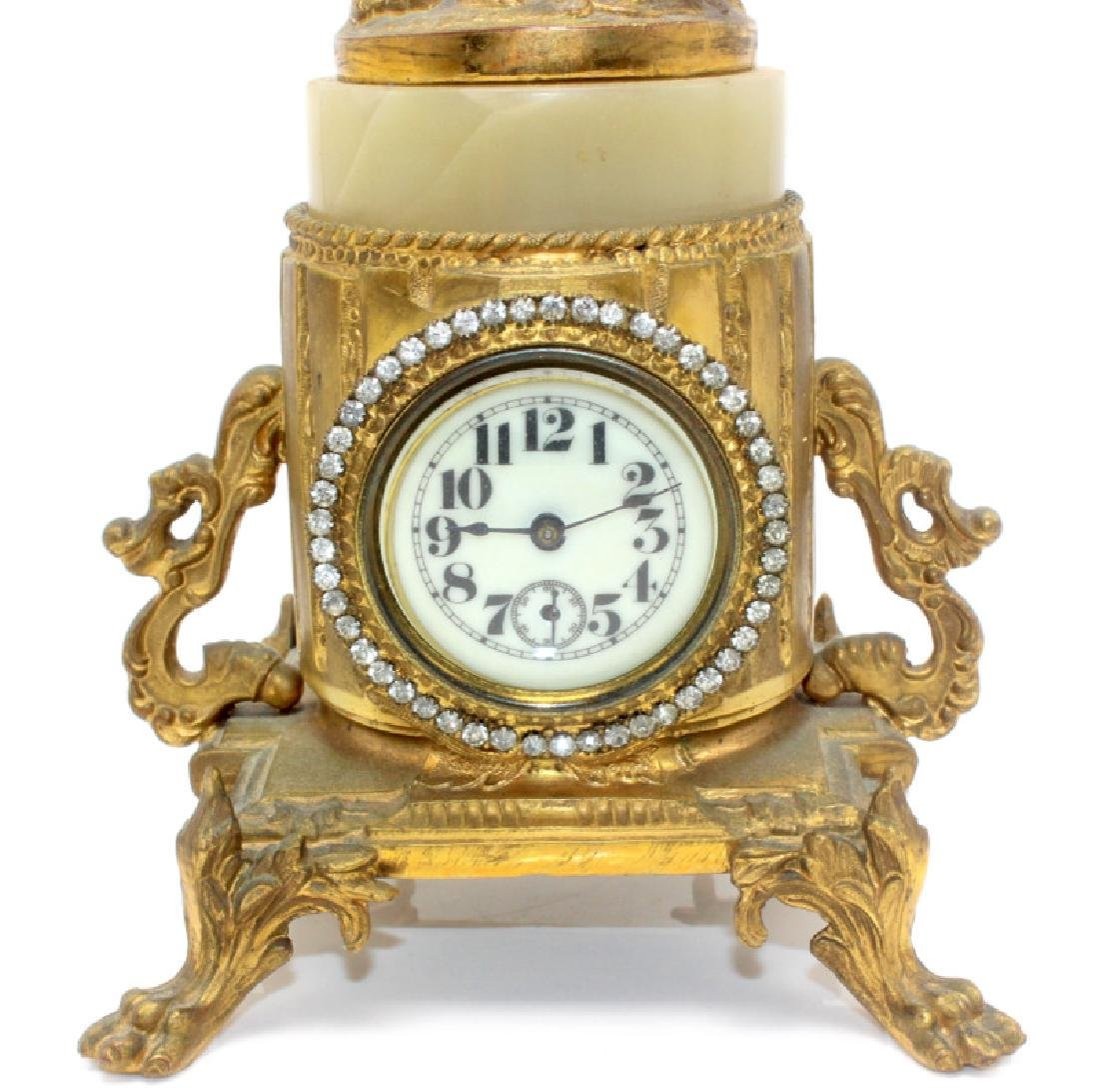 Antique French Metal & Onyx Miniature Cupid Clock - 4