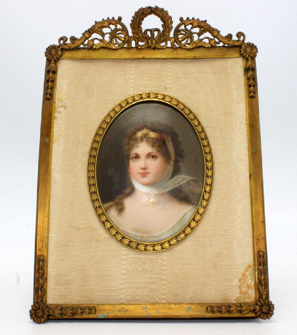 Handpainted Miniature on Porcelain in Gilt Bronze