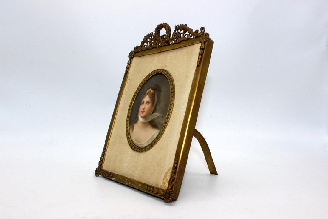 Handpainted Miniature on Porcelain in Gilt Bronze - 3