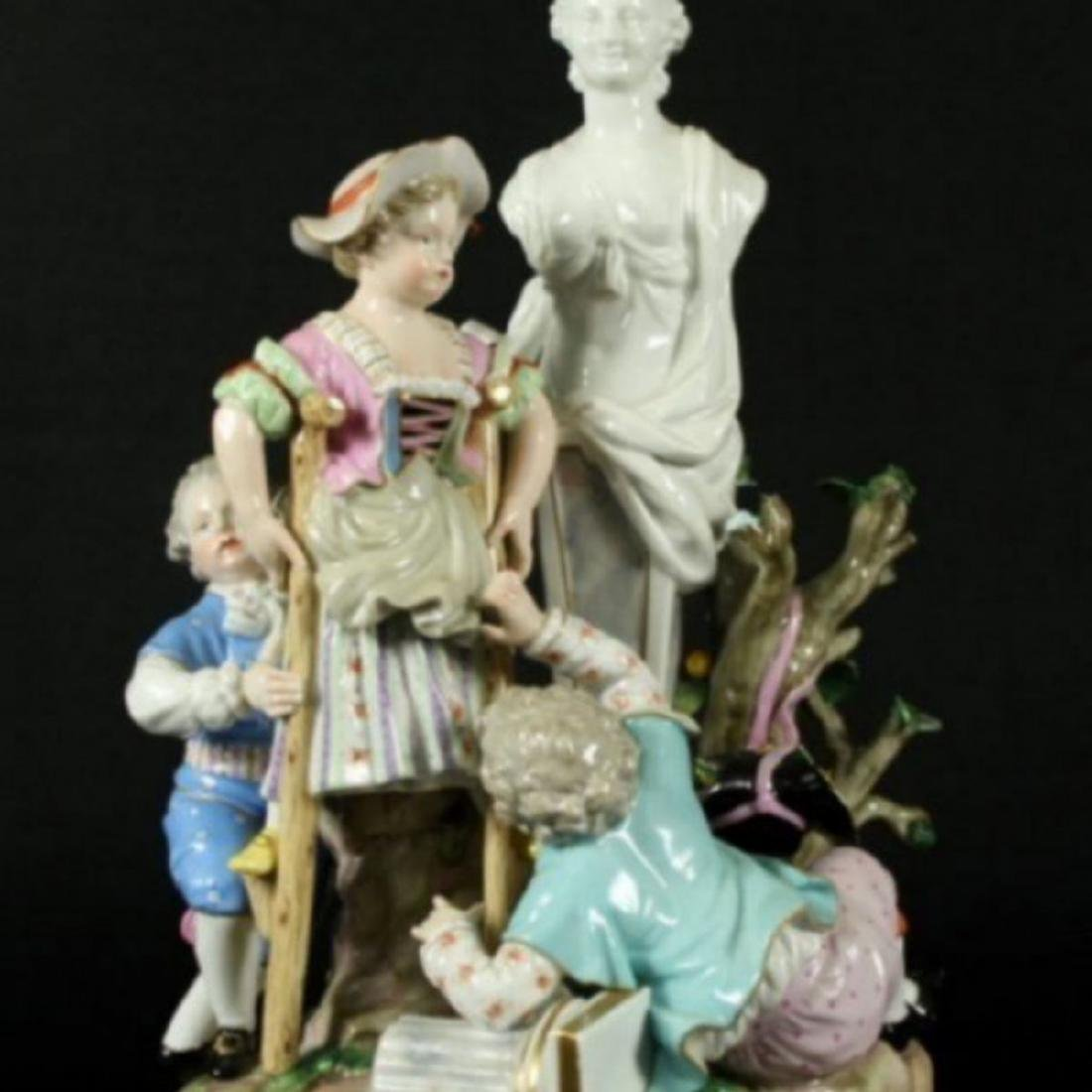 19TH C. POLYCHROME ENAMELLED MEISSEN GROUP
